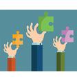 A hand puts proper puzzle Businessman assembling vector image