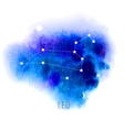 Astrology sign Leo on blue watercolor background vector image
