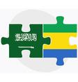 Saudi Arabia and Gabon Flags vector image