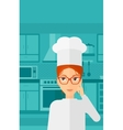 Chef pointing forefinger up vector image vector image