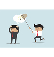Business man stealing idea Steal idea concept vector image