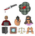 crime set icons in cartoon style big collection vector image