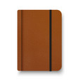 realistic brown notebook with black elastic band vector image