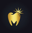 tooth dental shine abstract gold logo vector image