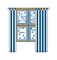 window with curtain and night landscape color vector image