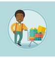 Customer with shopping trolley full of gift boxes vector image