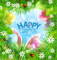 easter background with rabbit ears eggs vector image