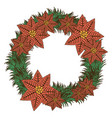 opaque color crown with poinsettia christmas vector image
