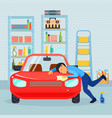 male love his car composition vector image