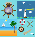 four sea set with description of lighthouse boat vector image