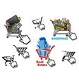 Internet market store shop design elements set vector image