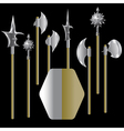 medieval weapons and shield vector image