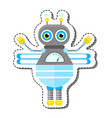 blue friendly cartoon bee robot character vector image