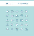 blue online shopping line icons set vector image