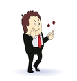 businessman playing in two red dice concept vector image