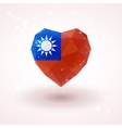 Flag of Taiwan in shape diamond glass heart vector image