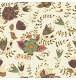 Seamless pattern with flowers and leaves in vector image