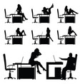 girl in the workplace posing on table silhouette vector image