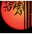 Bamboo trees and leaves with red sun on black vector image