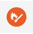 Match stick burns icon Burning matchstick sign vector image