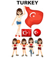 Turkey flag and woman athlete vector image