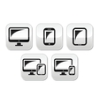 Computer tablet smartphone buttons set vector image