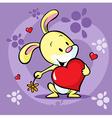 cute bunny hold heart - cartoon vector image