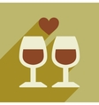 Flat web icon with long shadow wine glasses vector image