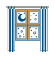 window in wooden with curtain and night landscape vector image