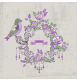 Vintage Card - with Retro Frame Flowers and Birds vector image