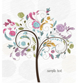 doodles background with colorful tree vector image