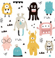 childish seamless pattern with cute monsters vector image