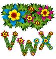 flowers alphabet 08 vector image