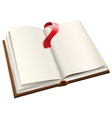 Open book with red bookmark Open book with blank vector image