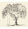 Romantic tree swing hand drawn sketch vector image