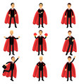 set of business man character in classic black vector image