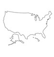 the united states of america map of black contour vector image