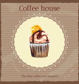 Watercolor coffee house advertisement with cupcake vector image
