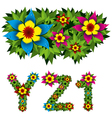 flowers alphabet 09 vector image vector image