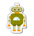 green cheerful cartoon robot character vector image