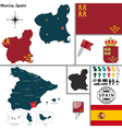 Map of Murcia vector image