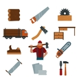 Lumberjack cartoon character with lumberjack tools vector image