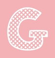 G alphabet letter with white polka dots on pink vector image