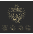 Anchor maritime sailor tattoo set or vintage vector image