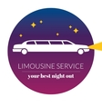 Limousine night service graphic icon sign in round vector image