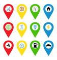 navigation icons in bright flat style vector image