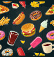 seamless pattern fast food cup cola coffee vector image