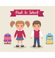 Smiling children are students in school uniforms vector image
