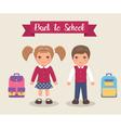 Smiling children are students in school uniforms vector image