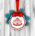 Winter Label Wishes Card with Red Bow Ribbon vector image